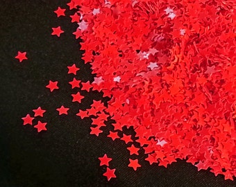 solvent-resistant glitter shapes-neon red stars