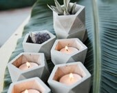Stackable Concrete Geometric Tea Light Candle Holder and Catch All Vessel