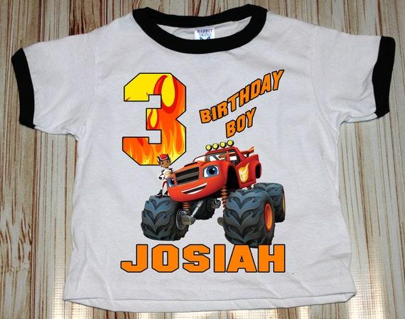 Blaze Monster Truck Ringer Shirt ~ Truck Birthday Shirt PERSONALIZED ~ Custom