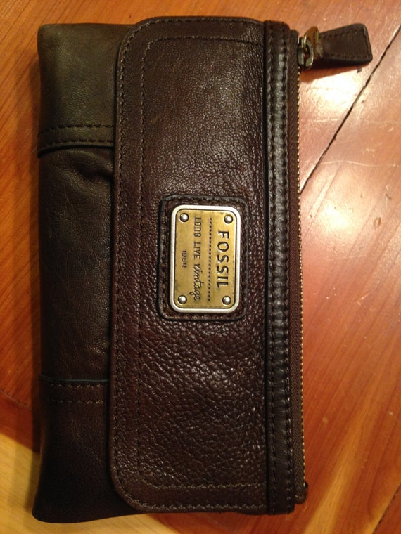 Fossil Brown Espresso Emory Clutch Wallet Long By