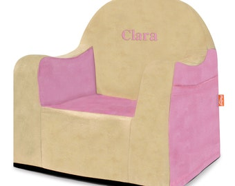 P'kolino Personalized New Little Reader Chair- Pink and Tan (add name to be personalized in Notes)