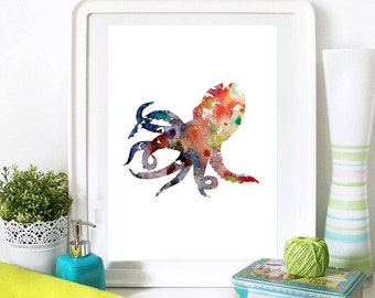 Octopus Print Blue and Orangle Watercolor