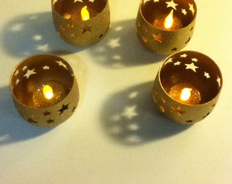 Gold Star Tea Light Candle Holders (set of 4)