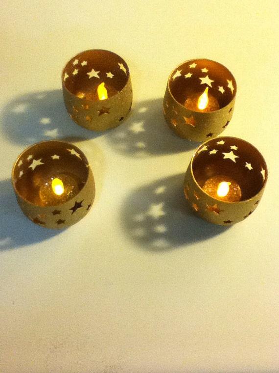 Gold Star Tea Light Candle Holders Set Of 4