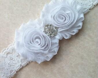 White Shabby Chic, Flower Girl Headband, baby hair bows, wedding headband, baby headband, hard headband, toddler headband, bridesmaid