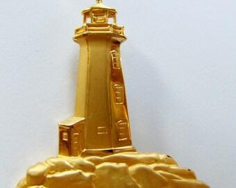 JJ Jonette Vintage Gold Tone Lighthouse Brooch Pin