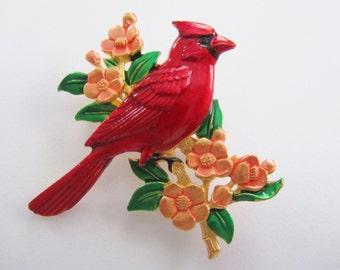 Vibrant Colored JJ Jonette Cardinal Bird On Floral  Branch Brooch Pin