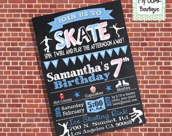 Ice skating birthday invitation skates party invite figure skating chalkboard skate digital printable you print invite 13330