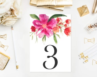 INSTANT DOWNLOAD Table Numbers - Hot Pink Hand Painted Watercolor Flower Posy Table Numbers - Floral Table Numbers Card - Tables 1-10