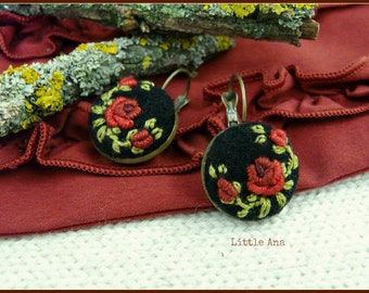 Rose Garden Earrings - Black and Red - felted earrings, embroided earrings, traditional techniques, handmade jewelry