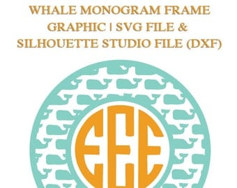 Whale Monogram Frame File for Cutting Machines | SVG and Silhouette Studio (DXF)
