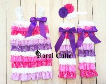BOUTIQUE Pink Purple White Petti Lace Romper Leg Warmers Bow Set Birthday Photo Smash Outfit - Newborn Baby 3m 6m 9m 12m 18m 24m 2t 3t