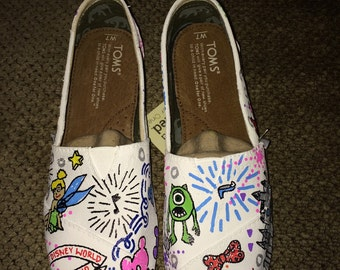 Hand Painted Dooney and Bourke Style Disney Toms- NOTE: Personalized to any design, college, or character(s) you want