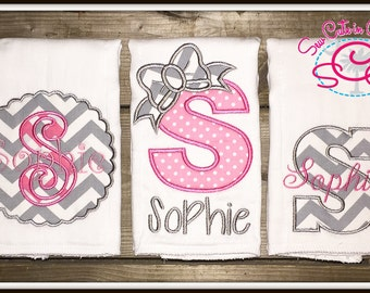 Boutique Monogrammed Baby Burp Cloths Set