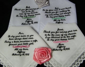 Four (4) Personalized Mix & Match Family Members 25 word Wedding Handkerchiefs