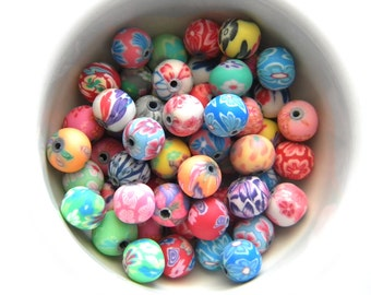 20 Assorted Polymer Clay Flower Beads - 8mm
