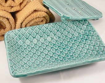 Ceramic Soap Dish in Teal Green with Scalloped Pattern Handmade