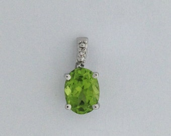 Natural Peridot Diamond Pendant Sterling Silver