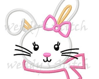 Girl bunny applique machine embroidery design instant download