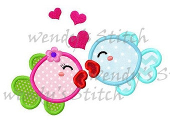 love fish appliqu emachine embroidery design digital pattern