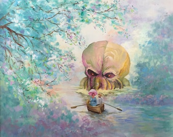 HP Lovecraft Cthulhu Parody Painting, 'Lovecraft Lane' - Altered Painting - Limited Edition Print or Poster - Funny Cthulhu Print, Lovecraft