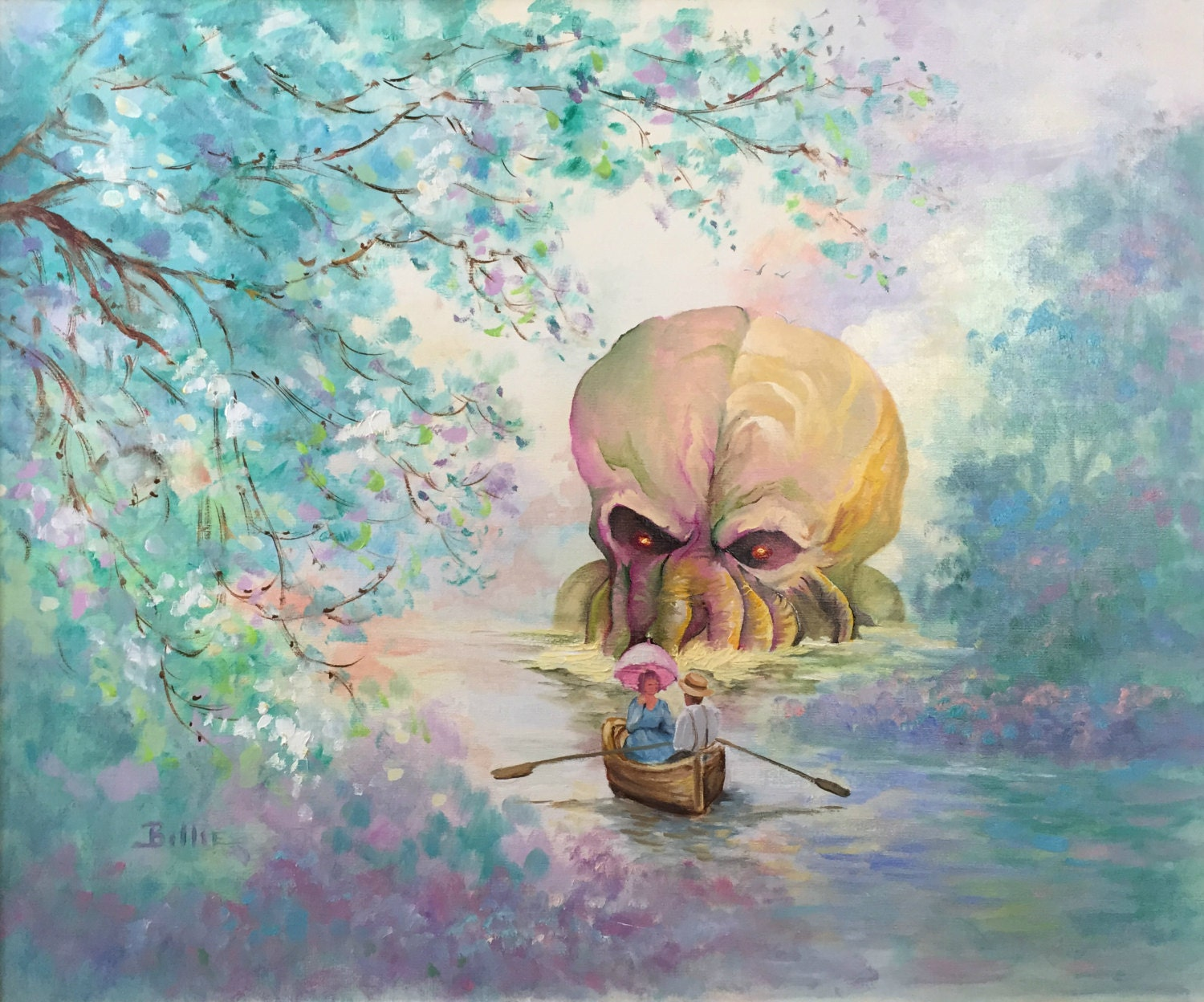 Https Www Etsy Com Listing 229042808 Hp Lovecraft Cthulhu Parody Painting