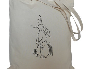 Tote bag/ drawstring bag/ drawing of a rabbit/ cotton bag/ material shopping bag/ shoe bag/ nursery
