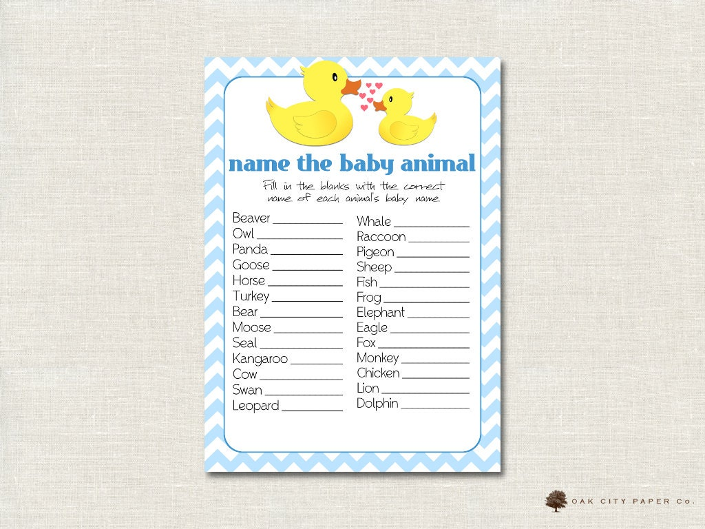 rubber ducky name the baby animal baby shower game rubber