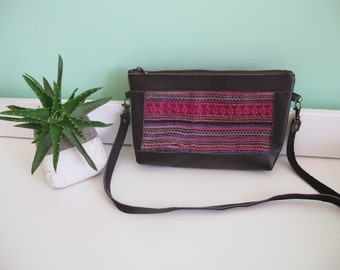 Dark brown cross body leather bag with pink vintage Hmong embroidery