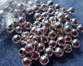 100 - 4mm Silver Tone Beads