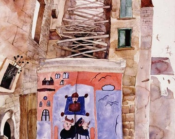 Old Town Painting in Italy,City Scape Painting,watercolor, Home decor,Gift idea,30x24inch,NO FRAME NEED,drowing,