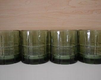 Anchor Hocking Short Tartan Plaid Emerald Green Tall Iced Tea Glasses Tumblers - set of 4
