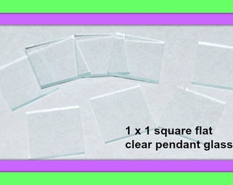 10 Pack 1 x 1 Inch Clear Glass Squares