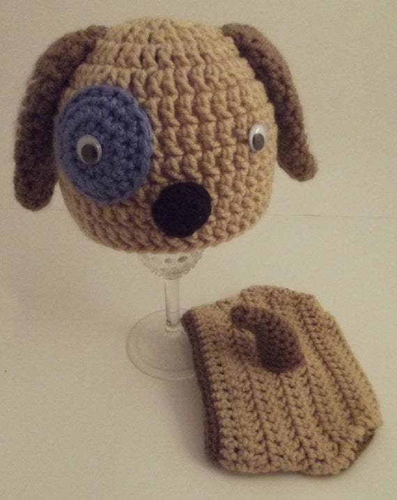 Crochet Dog Hat And Diaper Cover Pattern : NewBorn Puppy Dog Crochet Hat and Diaper Cover Set by ...