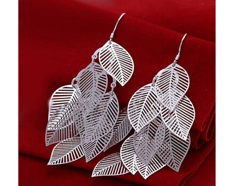 925 Silver Plated Leaf Layer Earrings