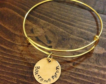 Nu Gold expendable bracelet with hand stamped disk