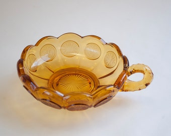 Fostoria Amber Coin Handled Nappy Bowl, Candy Dish