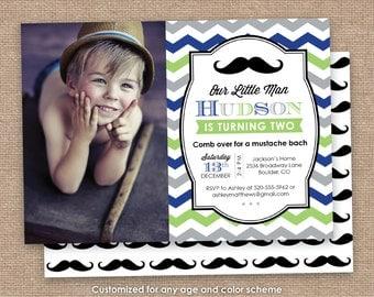 Little Man Birthday Invitation, Mustache Invitation, 1st 2nd 5th Birthday, Green Blue Gray, Chevron DIY Printable