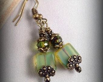Mint Green Czech Glass Picasso Earrings, Drop Earrings, Dangle Earrings, Boho Chic, Olive Green Earrings, Czech Glass Jewelry, Terra Cast