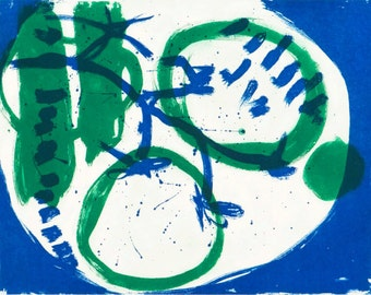 Abstract Art Hand Pulled Print - Limited Edition Etching - Original Abstract Art - Contemporary Printmaking Blue and Green Print