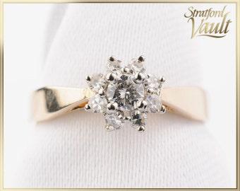 GIA ~ 1650.00 ~ Right Hand Ring ~ 14K Yellow & White Gold ~ 0.12ct Brilliant Cut H/SI1 Center ~ 0.16ctw Single Cut Diamond Halo ~ STR15652