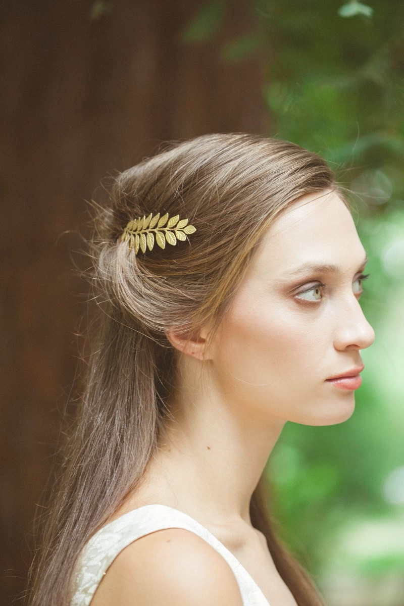 Hair accessories singapore - Gold Leaf Bobby Pin Laurel Hair Clip Bride Bridal Bridesmaid Botanical Nature Garden Rustic Woodland Wedding Accessories Womens Gift For Her
