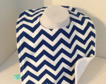 Navy Blue and white chevron flannel and white terrycloth reversible infant bib with hand sewn metal snap button