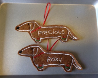 Dachshund Personalized Felt Gingerbread or Angel Ornament