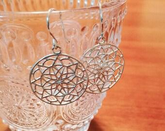 Silver mandala earrings, mandala piercing, flower of life, new age symbol, sacred geometry