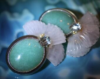 Wonderful Vintage Wendy Gell Jade/Stone earrings
