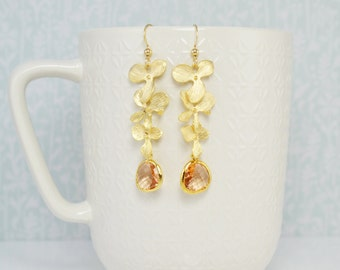 Peach Flower Drop Earrings, Beach Wedding, Peach and Gold, Champagne, Long Earrings, Dangle Earrings, Up Do Earrings, Boho Chic, Boho Summer