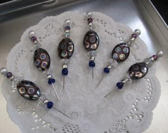 Set of 6 Silver Fancy Beaded Push Pins Tacks for Memo Cork Board