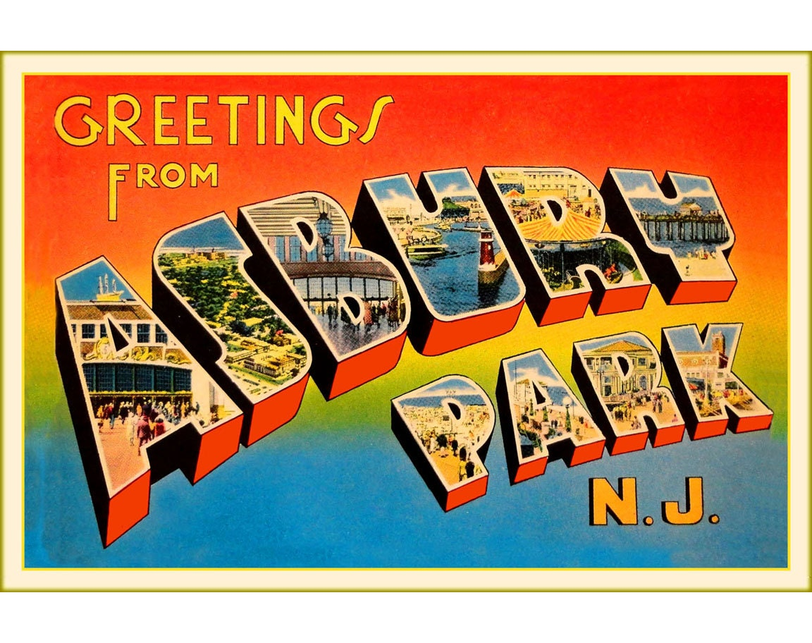 Greetings From Asbury Park New Jersey Shore Ocean Beach Poster