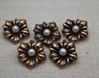 Vintage Antique Gold Flower Cabochon Detash (5 Pieces)